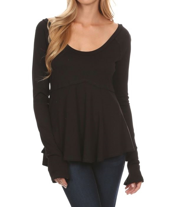 Solid length long sleeve top - orangeshine.com