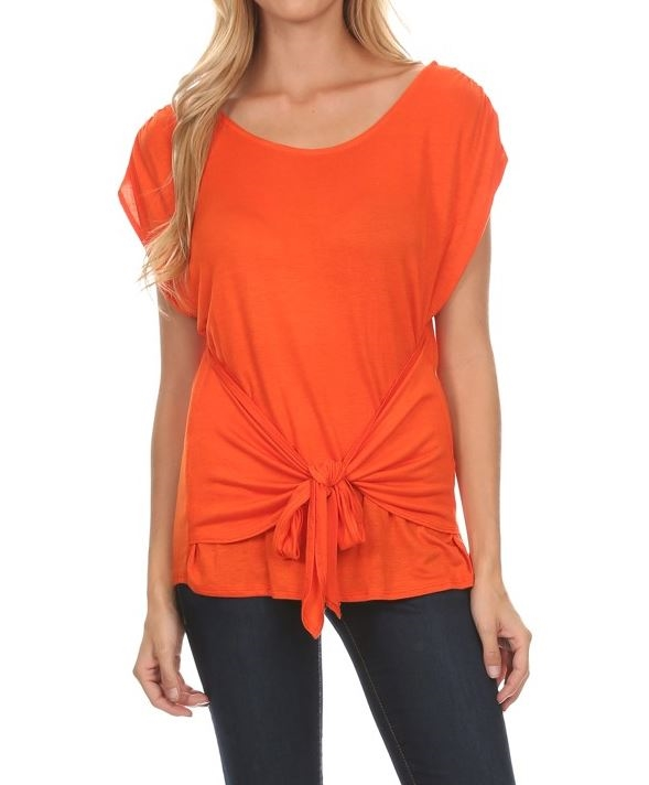 Solid length short sleeve top - orangeshine.com