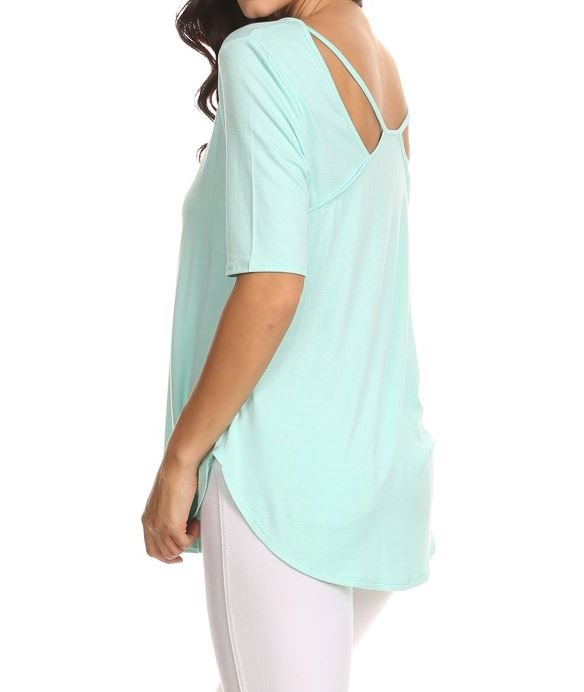 Solid 3/4 sleeve fit tunic - orangeshine.com
