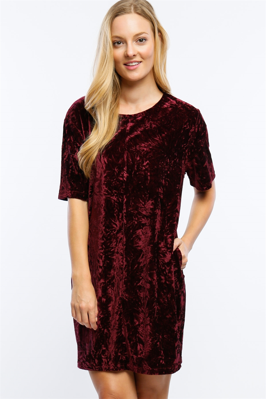 CRUSHED VELVET T-SHIRT DRESS - orangeshine.com