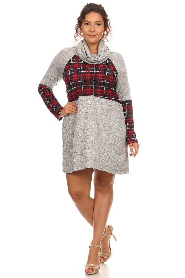 Plaid Detailed Cowl Neck Dress - orangeshine.com
