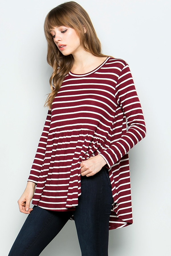 Striped babydoll tunic - orangeshine.com