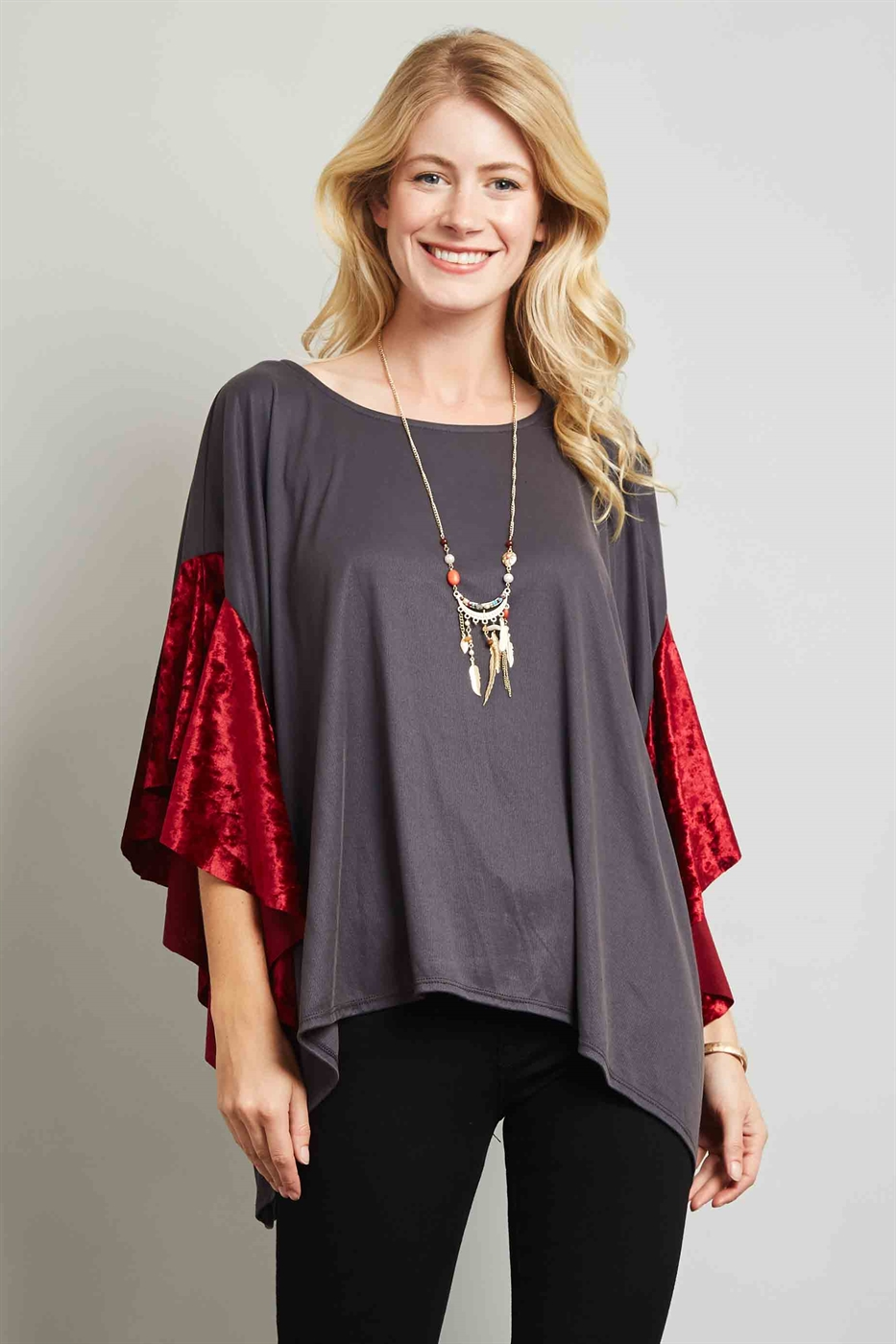 BELL SLEEVE VELVET TOP - orangeshine.com