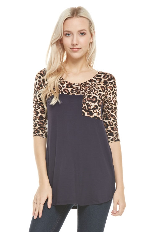 ANIMAL PRINT TUNIC WITH POCKET - orangeshine.com