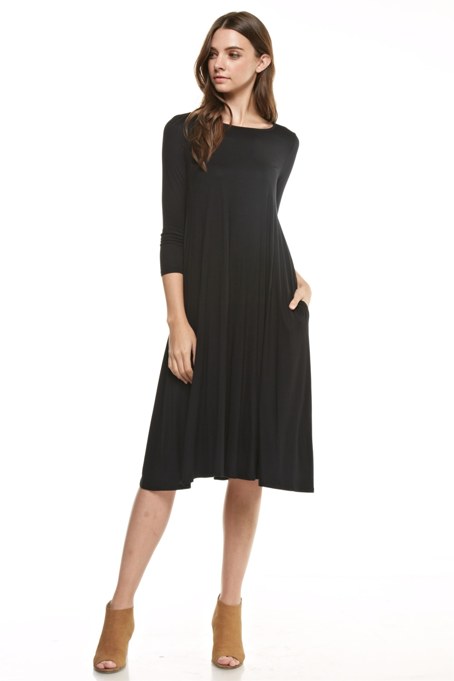 3/4 sleeve flared midi dress - orangeshine.com