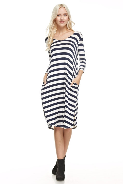 slub striped midi dress - orangeshine.com