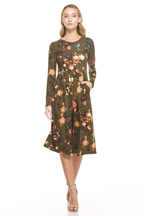 pleated floral pocket dress - orangeshine.com