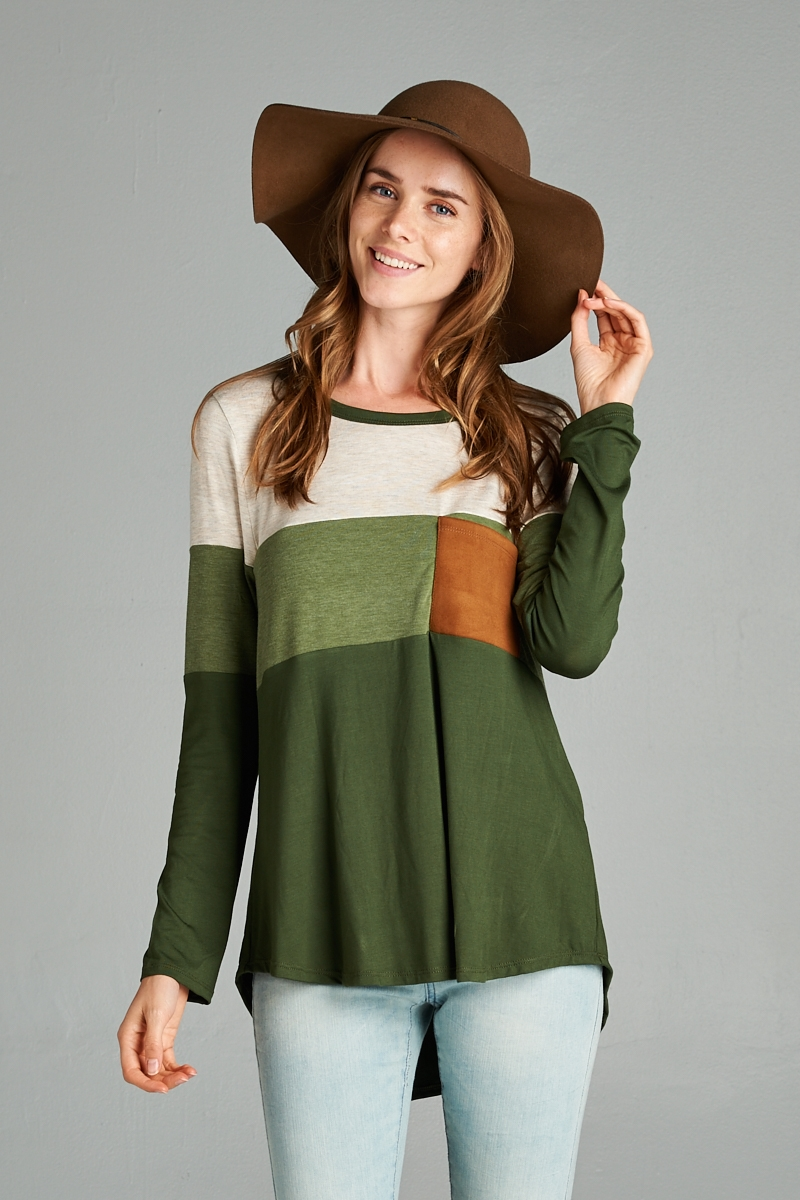 Tonal color block top - orangeshine.com