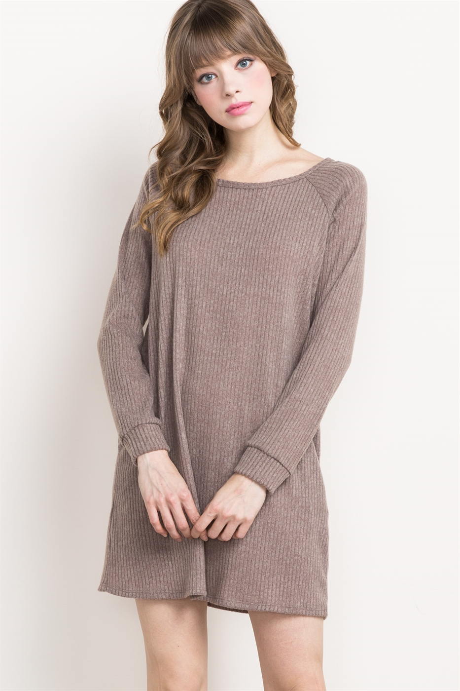 RIBBED KNIT SWEATER DRESS - orangeshine.com