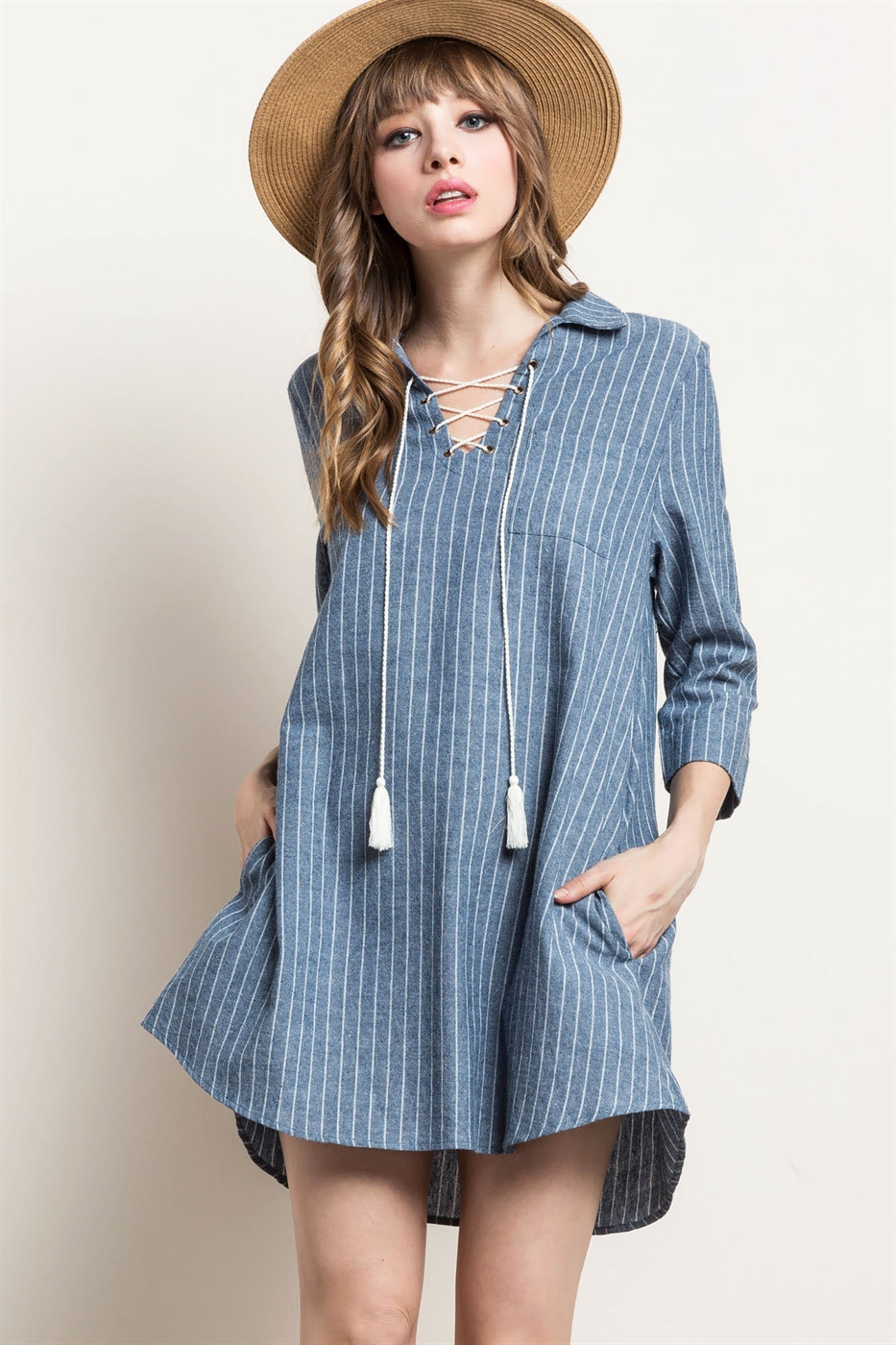 STRIPE LACE-UP SHIRT DRESS - orangeshine.com