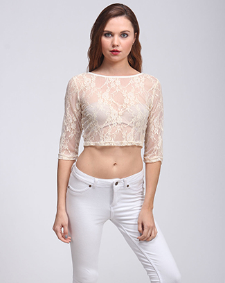 LACE CROPPED TOP - orangeshine.com