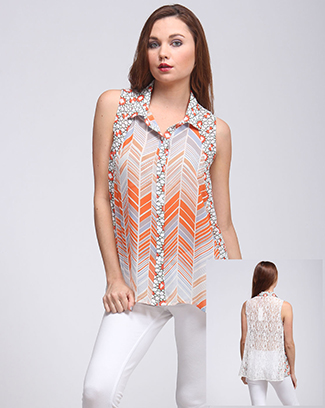 PRINT COLLAR TOP - orangeshine.com