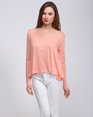 LONG SLEEVE TOP WITH RUFFLED BOTTOM - orangeshine.com