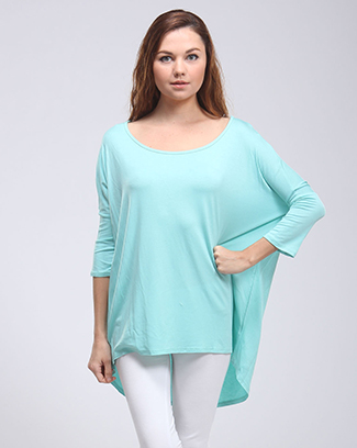 3/4 SLEEVE HIGH-LOW DOLMAN TOP - orangeshine.com