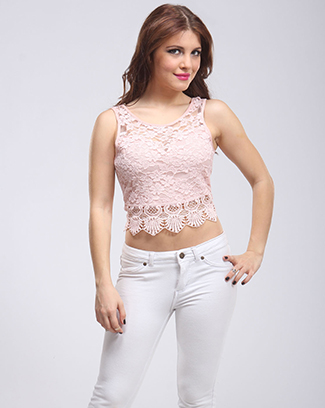 SWEETEST FLORAL LACE CROP TOP - orangeshine.com