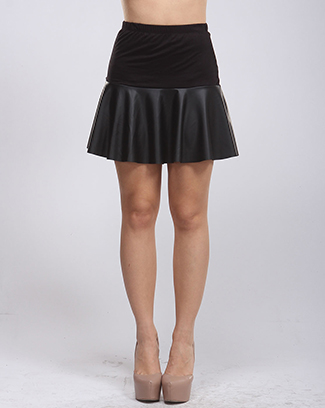 PU CONTRASTED RSJ SKIRT - orangeshine.com