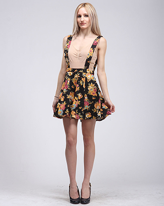 SWEET FLORAL OVERALL SKIRT - orangeshine.com