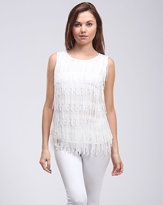 SLEEVELESS FRINGE TOP W/ KEY HOLE - orangeshine.com