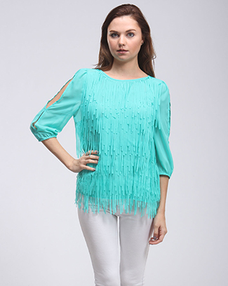 FRINGE CUTOUT SLEEVE TOP - orangeshine.com