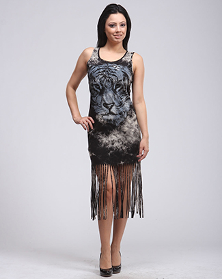 WILD TIGER FRINGE DRESS - orangeshine.com