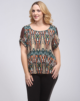 PRINT ROUND NECK TOP - orangeshine.com