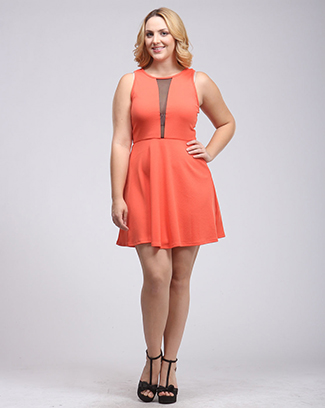 SOLID MESH SKATER DRESS - orangeshine.com