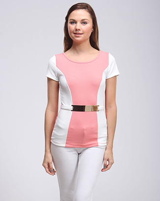 CHIC METALLIC BELT COLOR BLOCK TOP - orangeshine.com