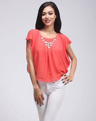 DAZZLING NECKLACE PLEATED TOP - orangeshine.com
