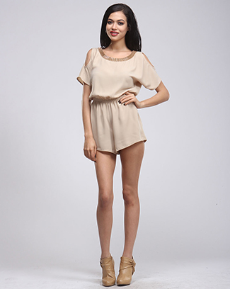 LOVELY WOVEN NECKLACE ROMPER - orangeshine.com