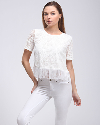 DAY TIME CROCHET BOXY FRINGE TOP - orangeshine.com