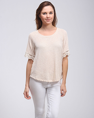 SLEEVE LACE TRIM TOP - orangeshine.com