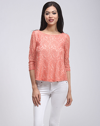 LACE 3/4 SLEEVE TOP - orangeshine.com