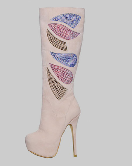 MULTI COLOR STONE PLATFORM BOOTS - orangeshine.com
