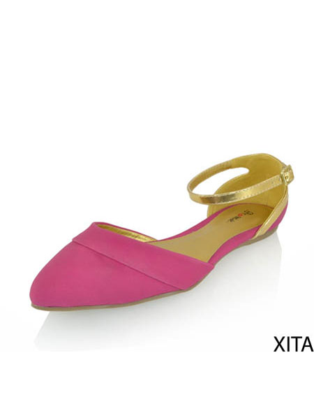 SOLID FLATS WITH ANKLE STRAP - orangeshine.com