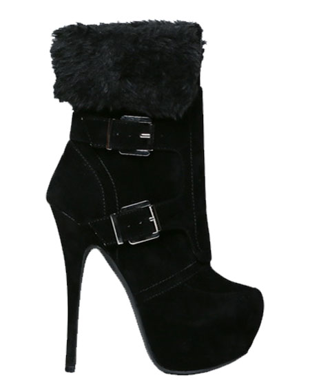 MULTI BUCKLED BOOTIE WITH FUR - orangeshine.com