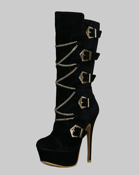 MULTI BUCKLED CHAINED PLATFORM BOOTS - orangeshine.com