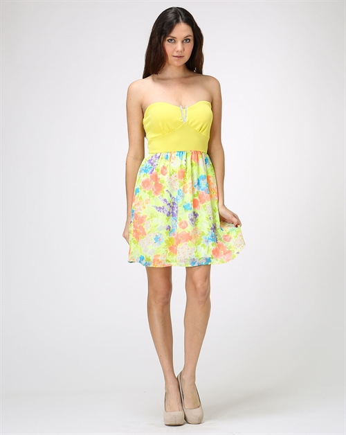 FLORAL STRAPLESS DRESS - orangeshine.com
