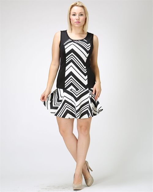 CHEVRON FLOUNCED HEM DRESS - orangeshine.com