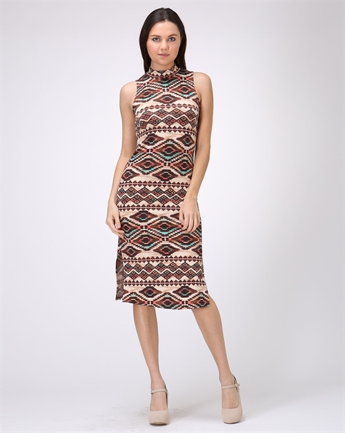 HIGH NECK SLEEVELESS BODYCON - orangeshine.com