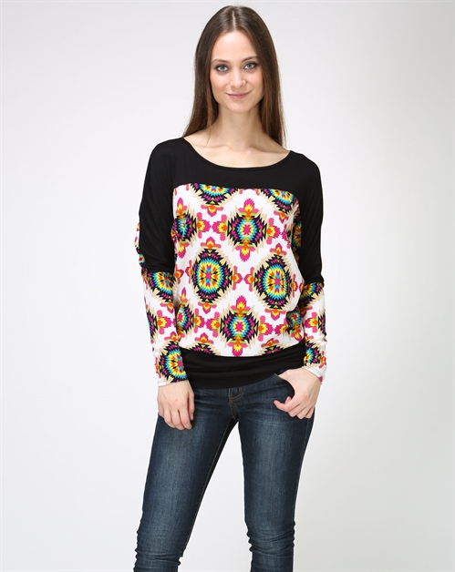 Print Dolman Tunic Top - orangeshine.com