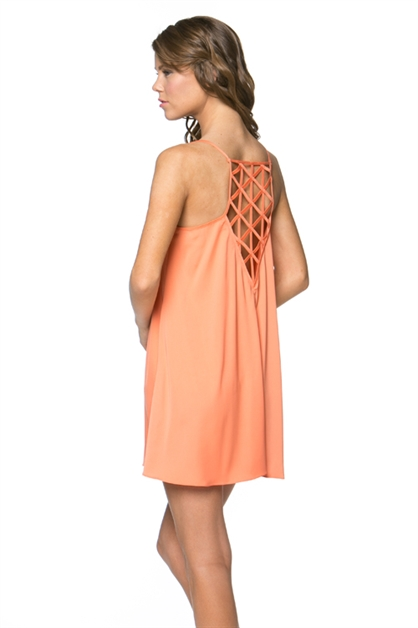Caged Back Shift  Dress - orangeshine.com