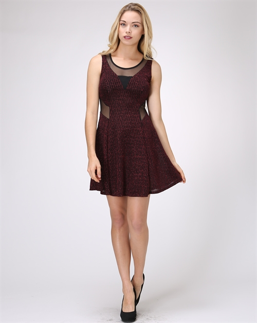 LUREX SKATER DRESS WITH MESH - orangeshine.com