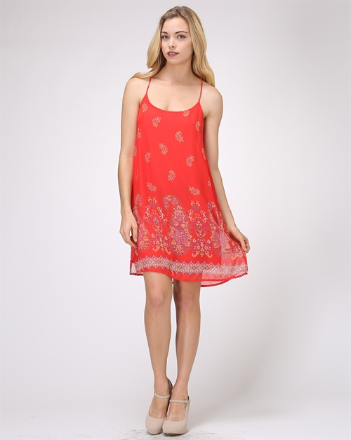 Spaghetti Strap Printed Dress - orangeshine.com