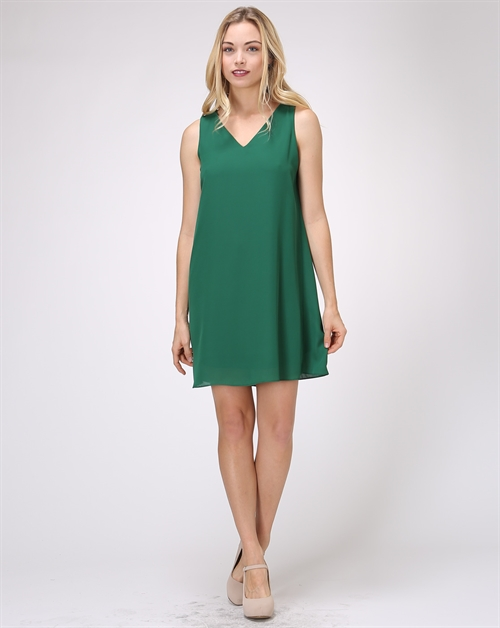 SLV-LS V-NCK BASIC DRESS - orangeshine.com