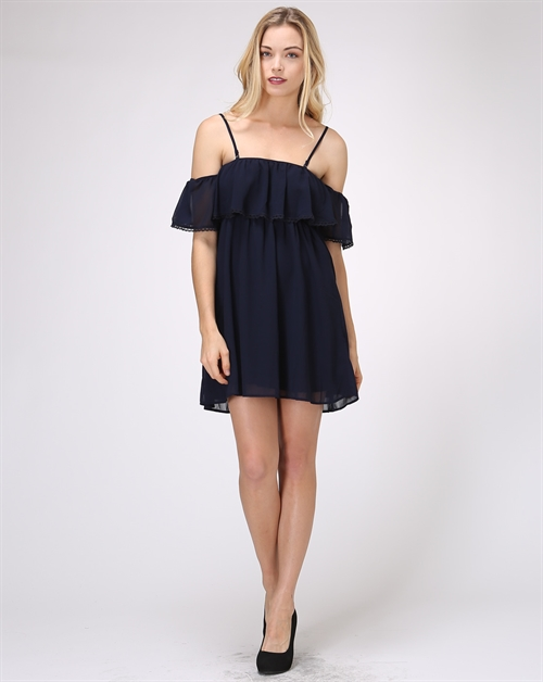 Lace deco Crepe Chiffon Dress - orangeshine.com