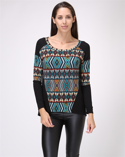 Print Long Sleeve High Low Top - orangeshine.com