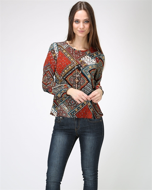 LONG SLEEVE PRINT TOP - orangeshine.com
