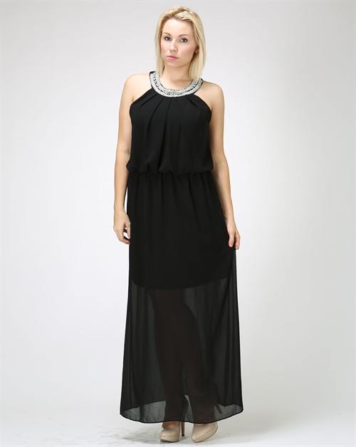 Long black dress with trim nkl - orangeshine.com