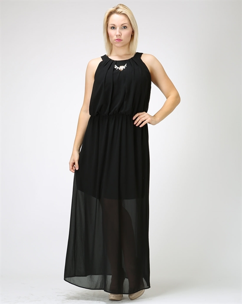 Long black Dress with lining - orangeshine.com