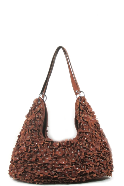 Genuine leather flower hobo - orangeshine.com